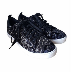 ALDO Black sequined embroidered flower sneakers